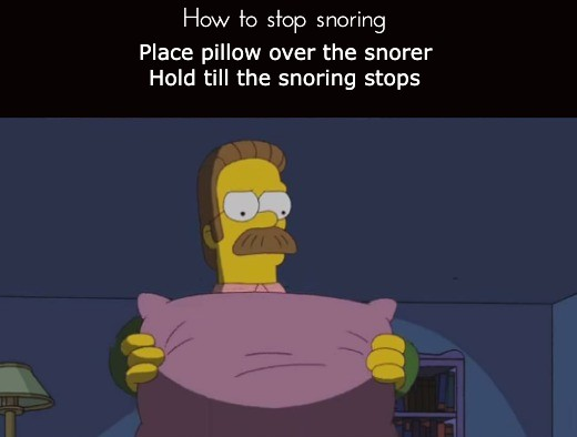 How to stop snoring Place pillow over the snorer and Hold still, till snoring stops